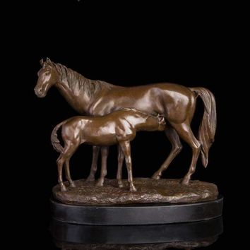 Vintage Classical Antique Brass Pony and  Mare Horses Statue
