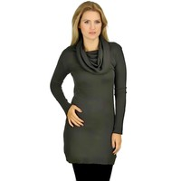 Charcoal Gray Knit Long Sleeve Cashmere Blend Cowl Neck Sweater Dress