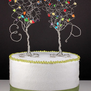 Rainbow Wedding Cake Topper Set of Two Trees with Initials