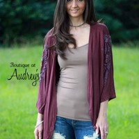 BLACK FRIDAY SPECIAL POL Burgundy Cardigan with Crochet Detail on Sleeves