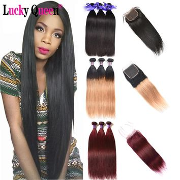 Brazilian Straight Hair Bundles With Lace Closure #1b/#99/#27/Red/Burgundy Ombre Hair Bundles Non Remy 100% Human Hair Extension