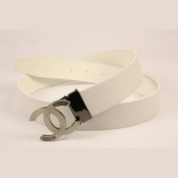 Tagre Perfect CHANEL Woman Fashion Smooth Buckle Belt Leather Belt
