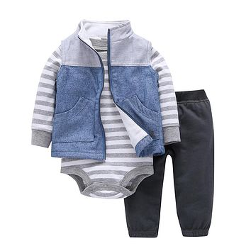 New 2017 infant boy girl clothing sets kids  baby bebes boy girl sweatshirt clothes 3pcs children clothing romper suits hoodies