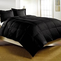 "Luxlen Deluxe Down Alternative Comforter, Queen (88"" X 88""), Black"
