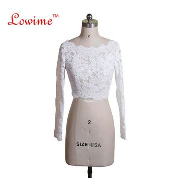 Bolero Appliques Long Sleeves Wedding Bolero Buttons back Wedding Jacket Lace Shawl Wedding Accessories