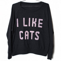 I Like Cats Raglan -- Black (Select Size)