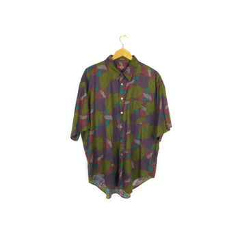 90s floral short sleeve shirt / vintage 1990s / dark plum / olive green /