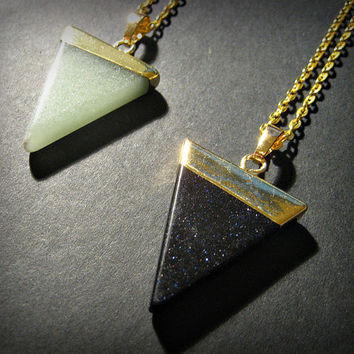 Green Aventurine,Blue Sandstone, Triangle Crystal Point Chain Necklace, Cosmos, Bohemian, Hippie, Boho, Gold