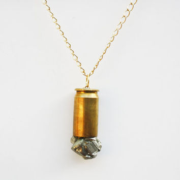 Iron Pyrite Crystal Bullet Point Necklace on Gold Chain