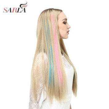 ICIKU7Q SARLA 20' Long Straight Clip In Hair Extensions Synthetic Heat Resistant Highlight Hair Ombre Hair Hairpieces Colorful Extension