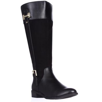 KS35 Deliee Wide-Calf Riding Boots, Black, 6 US