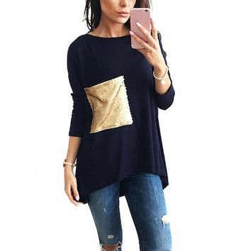 Fashion Women Girls Asymmetric Tunic Long T-shirt With Sequined Pocket Autumn Spring T-shirts Basic Tops FS99