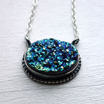 Teal Drusy Beaded Pendant, Handmade in Sterling Silver