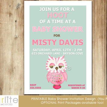 Owl baby shower invitation - Modern Owl Baby Shower Invitation - baby girl, mid century modern, unique, mint pink brown - You Print