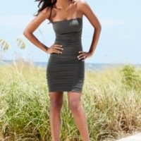 Strapless ruched dress, shoes in the VENUS Line of Dresses for Women