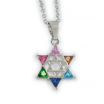 Multi-Colored Gemstone Jewish Star Necklace