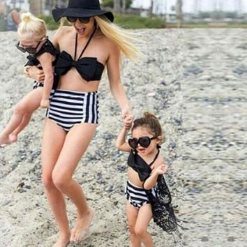 Family Matching Swimwear Mother Daughter Stripes Bow Bikini Printed Swimsuit Summer Sexy Beachwear Set Girls Women Bathing Suit