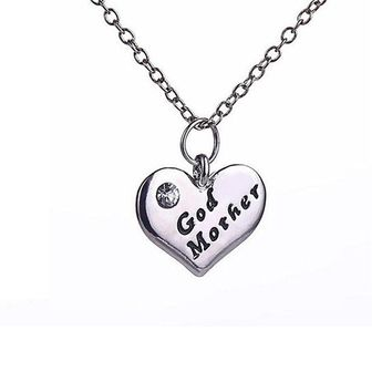 Women's Love Heart Pendant Rhinestone Godmother Necklace