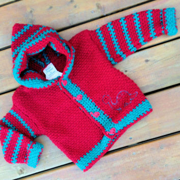 Children's Sweater Hoodie, Handmade Crochet bear cardigan sweater with hood, Baby Sweater size 3