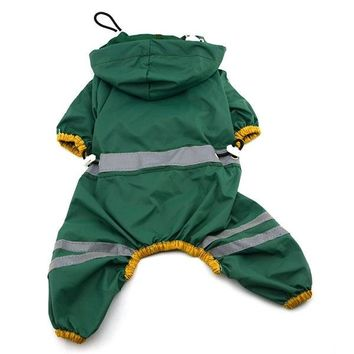 Pet Dog Cat Raincoat Clothes Puppy Glisten Bar Hoody Waterproof Rain Jackets Best