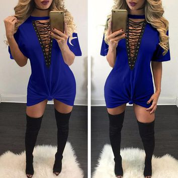 Deep-V Neck Cut-Out T-Shirt Dress