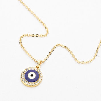 Studded Evil Eye Necklace