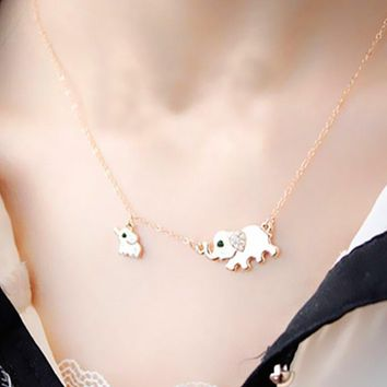 x124 Cute Elephant Family Pendant Necklace for Women Gold Color Animal Chain Necklace Crystal Clavicle Necklace Fashion Jewelry