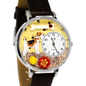 Whimsical Watches Fox Terrier Black Skin Leather And Silvertone Watch