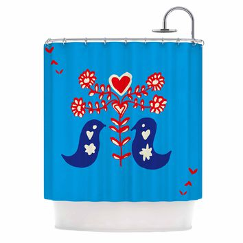 "bruxamagica ""Folk Bird Blue"" Blue Red Animals Ethnic Illustration Mixed Media Shower Curtain"
