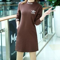 """Adidas"" Women Simple Letter Print Solid Color Turtleneck  Long Sleeve Sweater Dress"