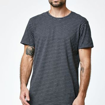 Reign+Storm Striped Scallop Longline T-Shirt - Mens Tee - Marshmallow