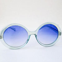 1970's Hippie Beach Big Blue Round Lens frame SunGlasses Eyewear -seventies vintage - Sky - eyeglasses