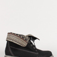 Women's Tribal Fold-Over Lace Up Round Toe Work Boot