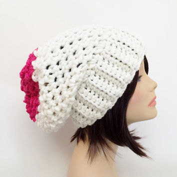 FREE Shipping - Slouchy Chunky Crochet Beanie - White, Pink