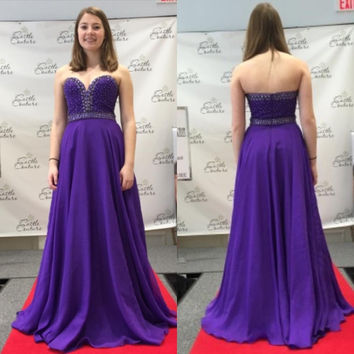 Sweetheart Prom Dress,Purple Prom Dress,Long Evening Dresses