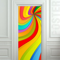 Door STICKER nursery rainbow outer cosmos abstraction space mural decole film self-adhesive poster 30x79inch(77x200 cm)