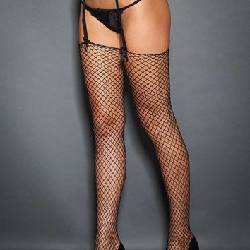 Classic Raw Edge Fishnet Stockings
