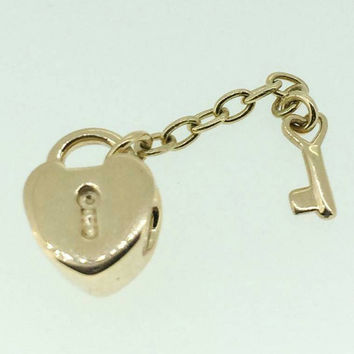 NEW Authentic Pandora Key To My Heart Charm - Solid 14k Yellow Gold Bead