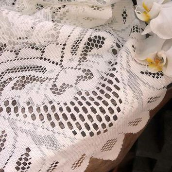 "Floral Lace Table Runner in Ivory13"" x 120"""