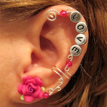 "Cartilage Ear Cuff Fuschia Rose Wedding Prom Bridal ""Love is Always"" No Piercing Helix Conch"