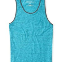 SOLID HEATHERED POCKET TANK