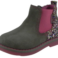 Pablosky Girl's Sparkle Zip Up Ankle Booties Boot Shoes Grey