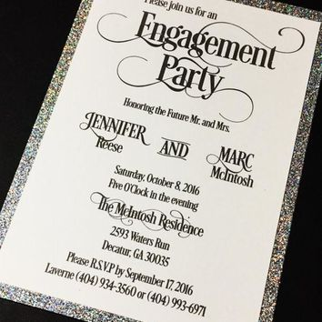 Engagement Party Invitation - Glitter Engagement Party Invitations - Set of 25