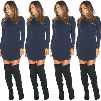 High Neck Long Sleeves Curve Hem Bodycon Mini Dress