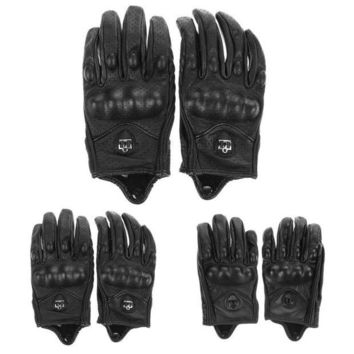 ac NOOW2 Men Motorcycle Gloves Outdoor Sports Full Finger Motorcycle Riding Protective Armor High Quality Black Short Leather Gloves New
