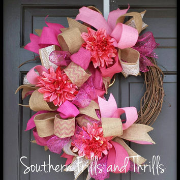Grapevine Wreath, Grapevine Flower Wreath, Summer Wreath, Spring Wreath, Burlap Wreath
