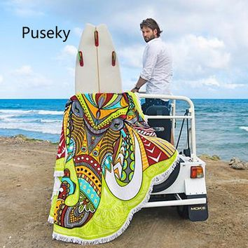 Puseky 2018  Chic Indian scarf Mandala Tassel Elephant bandana Hippie Beach Scarf Wall Hanging Throw  hijabscarf women