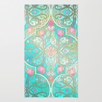 Floral Moroccan in Spring Pastels - Aqua, Pink, Mint & Peach Rug by Micklyn