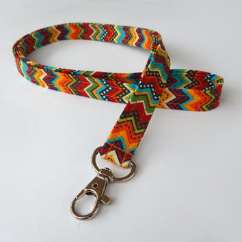 Chevron Lanyard / Colorful / Boho Keychain / Cute Lanyards / Bohemian / Key Lanyard / ID Badge Holder
