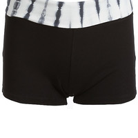 Just Do It Yoga Shorts - Black Tie Dye